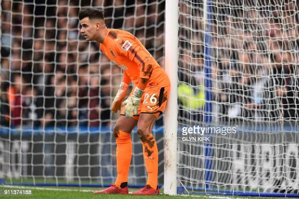 Newcastle United's English goalkeeper Karl Darlow waits for a freekick to be taken during the English FA Cup fourth round football match between...