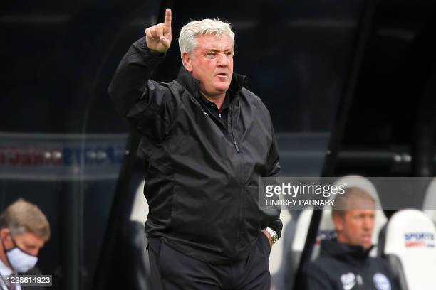 Newcastle United's English head coach Steve Bruce gestures on the touchline during the English Premier League football match between Newcastle United...