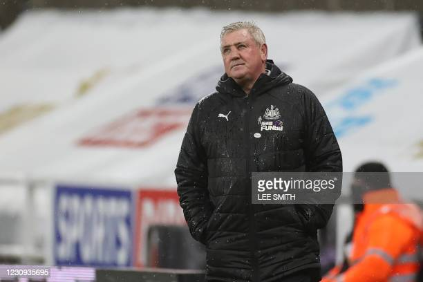 Newcastle United's English head coach Steve Bruce reacts during the English Premier League football match between Newcastle United and Crystal Palace...