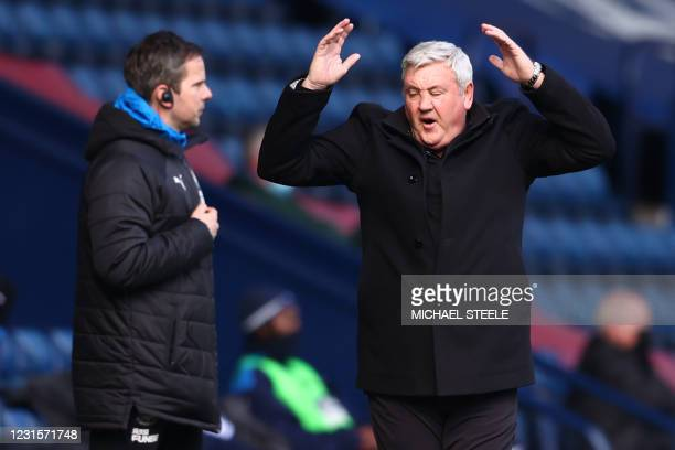 Newcastle United's English head coach Steve Bruce reacts during the English Premier League football match between West Bromwich Albion and Newcastle...