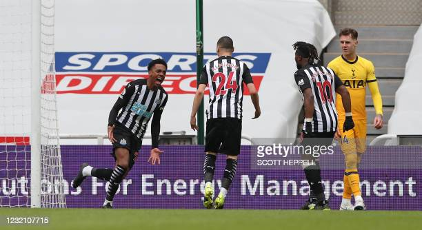Newcastle United's English midfielder Joe Willock celebrates scoring his team's second goal during the English Premier League football match between...