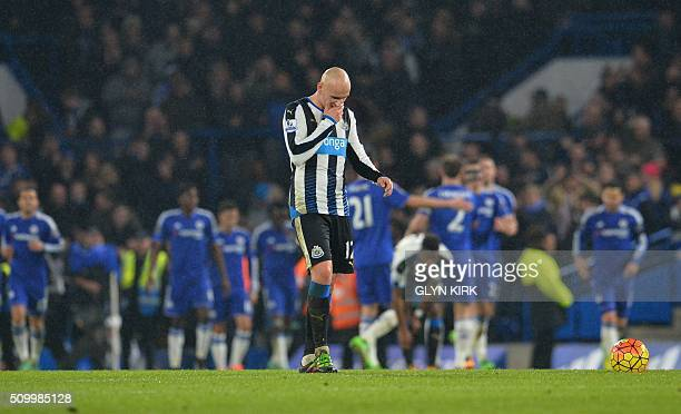 Newcastle United's English midfielder Jonjo Shelvey reacts at the restart after Chelsea scored their fifth goal during the English Premier League...