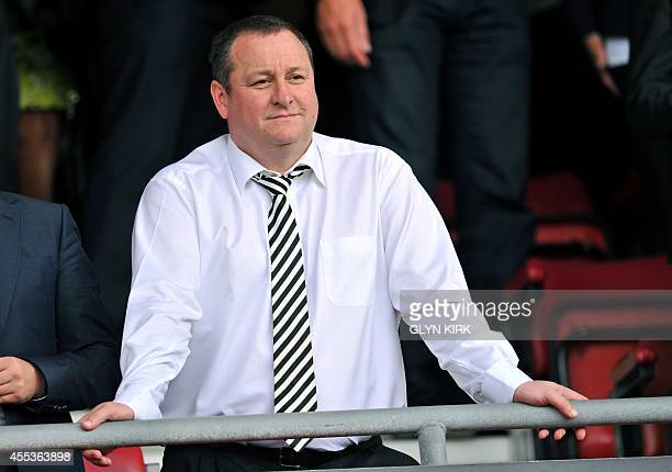 Newcastle United's English owner Mike Ashley gestures before the English Premier League football match between Southampton and Newcastle United at St...
