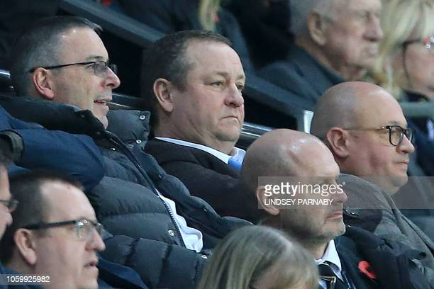 Newcastle United's English owner Mike Ashley watches during the English Premier League football match between Newcastle United and Bournemouth at St...