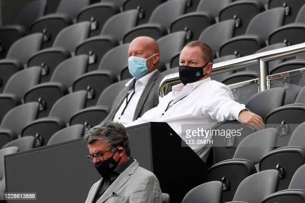 Newcastle United's English owner Mike Ashley watches the English Premier League football match between Newcastle United and Brighton and Hove Albion...