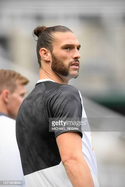 Newcastle United's English striker Andy Carroll looks on ahead of the English Premier League football match between Newcastle United and Sheffield...
