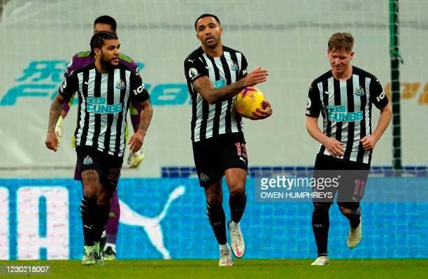 Newcastle United's English striker Callum Wilson celebrates scoring a penalty during the English Premier League football match between Newcastle...