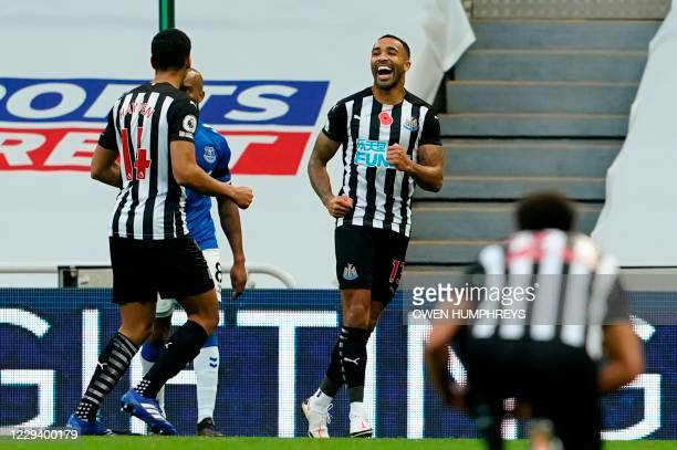 Newcastle United's English striker Callum Wilson celebrates scoring their second goal during the English Premier League football match between...