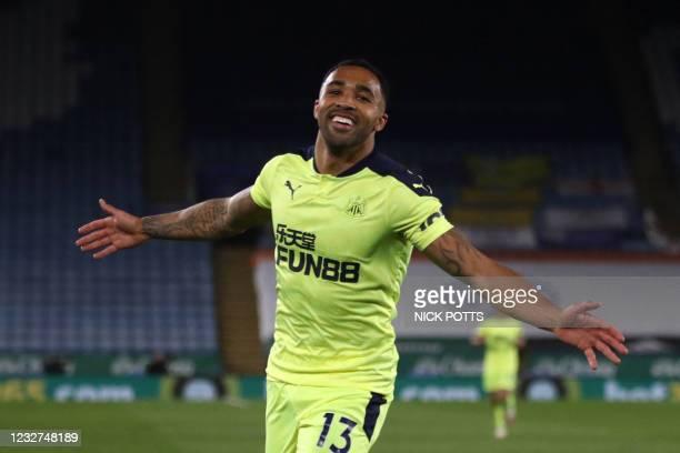 Newcastle United's English striker Callum Wilson celebrates scoring their third goal during the English Premier League football match between...