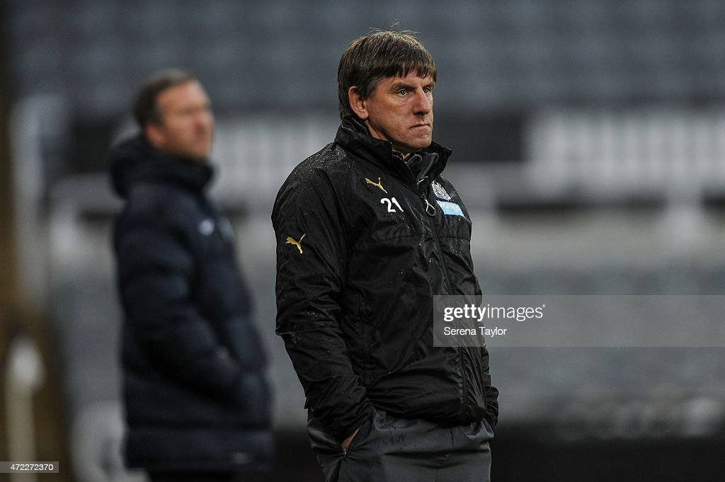 Newcastle United's Football development manager Peter Beardsley stands on the sidelines during the Under 21 Premier League match between Newcastle United and Blackburn Rovers at St. James' Park on May 5, 2015, in Newcastle upon Tyne, England, United Kingdom.