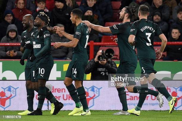 Newcastle United's French midfielder Allan SaintMaximin celebrates scoring the opening goal during the English Premier League football match between...