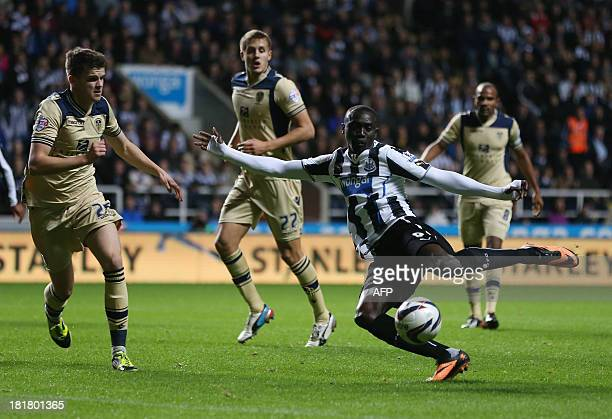 Newcastle United's French striker Pasiss Cisse attempts a shot at goal during the League Cup football match between Newcastle United and Leeds United...