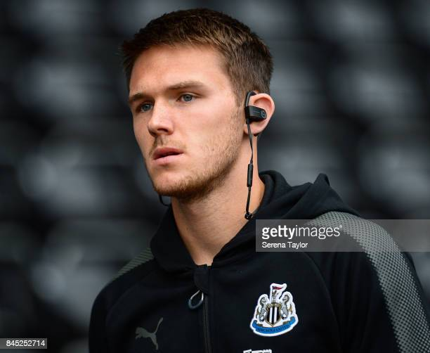 Newcastle United's Goalkeeper Freddie Woodman arrives at the Liberty Stadium prior to kick off of the Barclays Premiership match between Swansea City...