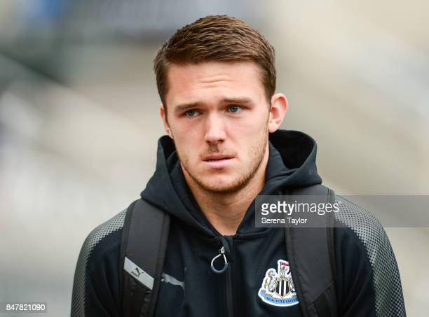 Newcastle United's Goalkeeper Freddie Woodman arrives for the Premier League match between Newcastle United and Stoke City at StJames' Park on...