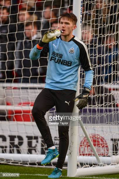 Newcastle United's Goalkeeper Freddie Woodman stands against the goal post during the Premier League match between Stoke City and Newcastle United at...