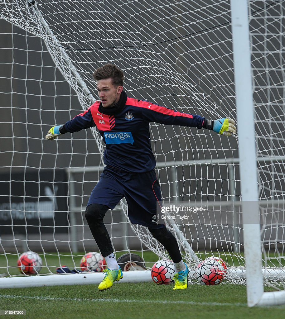 Newcastle United's Goalkeeper Freddie Woodman stands in goals during the Newcastle United Training session at The Newcastle United Training Centre on April 1, 2016, in Newcastle upon Tyne, England.