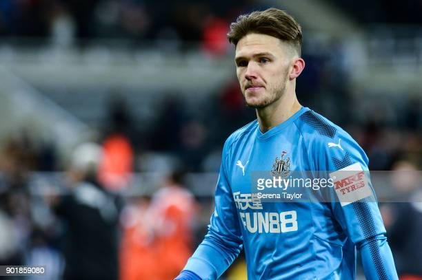 Newcastle United's Goalkeeper Freddie Woodman walks off the pitch during the Emirates FA Cup Third Round between Newcastle United and Luton Town at...