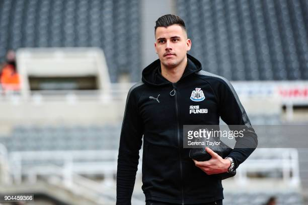 Newcastle United's Goalkeeper Karl Darlow arrives for the Premier League match between Newcastle United and Swansea City at StJames' Park on January...