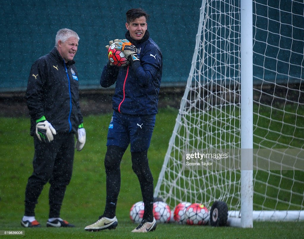 Newcastle United's Goalkeeper Karl Darlow holds a football in his hands after making a save during the Newcastle United Training session at The Newcastle United Training Centre on April 8, 2016 in Newcastle upon Tyne, England.