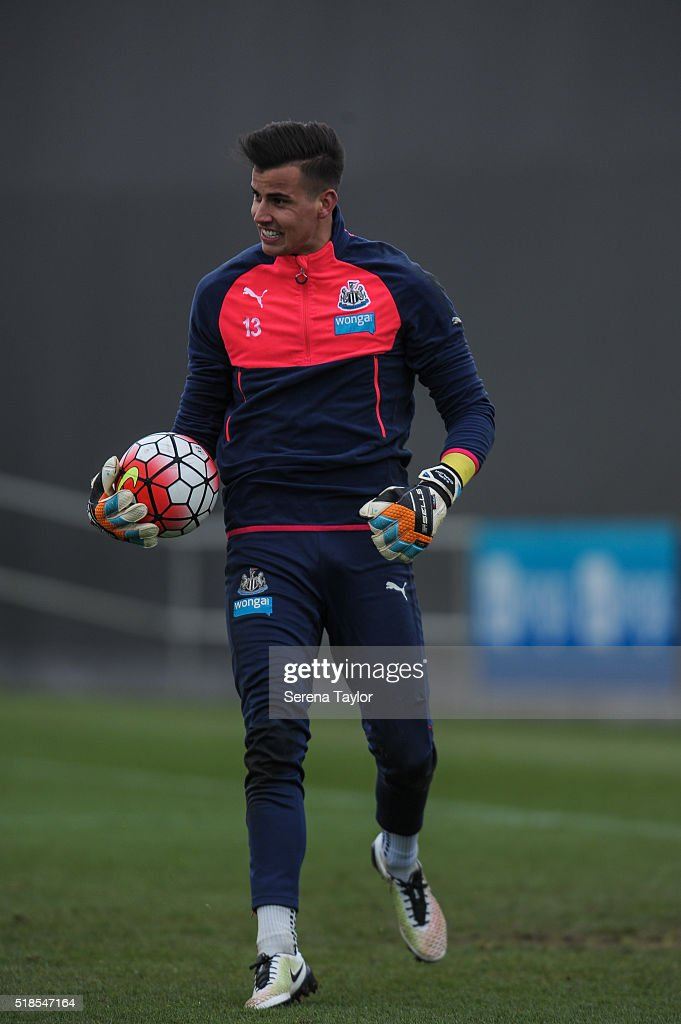 Newcastle United's Goalkeeper Karl Darlow holds ball in one hand during the Newcastle United Training session at The Newcastle United Training Centre on April 1, 2016, in Newcastle upon Tyne, England.