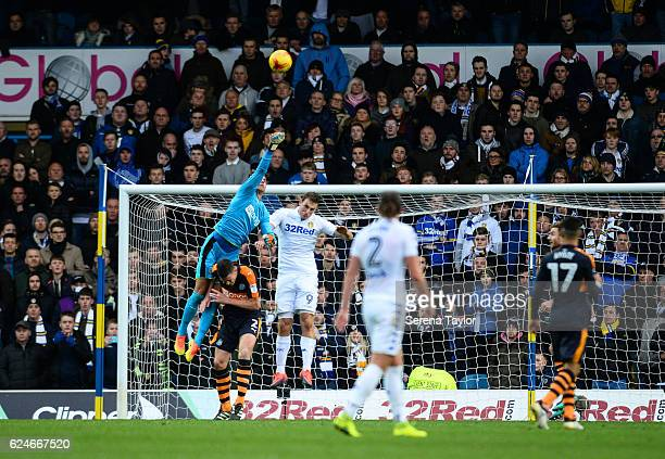 Newcastle United's Goalkeeper Karl Darlow jumps in the air to punch away the ball during the Sky Bet Championship Match between Leeds United and...