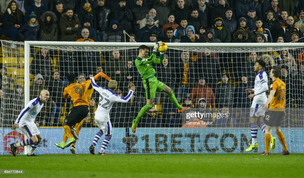 Newcastle United's Goalkeeper Karl Darlow (26) jumps in the air to save the ball during the Sky Bet Championship mpatch between Wolverhampton Wanderers and Newcastle United at Molineux on February 11, 2017 in North Shields, England.