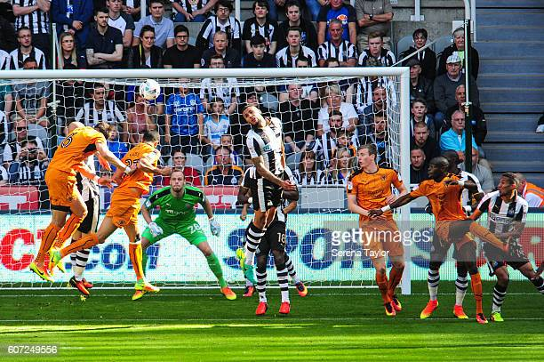 Newcastle United's Goalkeeper Matt Sels looks at the ball whilst Romain Saiss of Wolverhampton Wanderers heads the ball towards goal during the Sky...