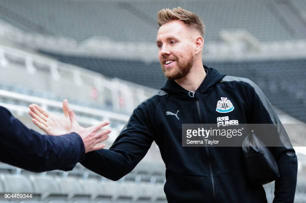 Newcastle United's Goalkeeper Rob Elliot arrives for the Premier League match between Newcastle United and Swansea City at StJames' Park on January...