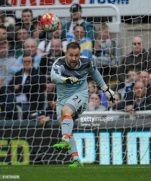 Newcastle United's Goalkeeper Rob Elliot kicks the ball into play during the Premier League match between Newcastle United and Sunderland at StJames'...