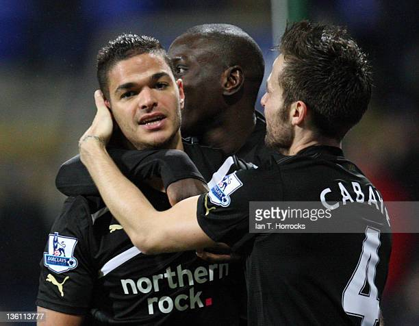Newcastle United's Hatem Ben Arfa celebrates after scoring the first goal during the Barclays Premier League match between Bolton Wanderers and...