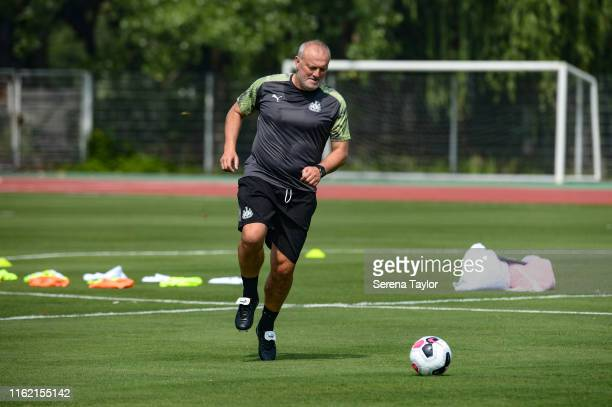 Newcastle United's Head of Under 23's Coach Neil Redfearn kicks a ball during the Newcastle United Training session at Nanjing Olympic Sports Center...
