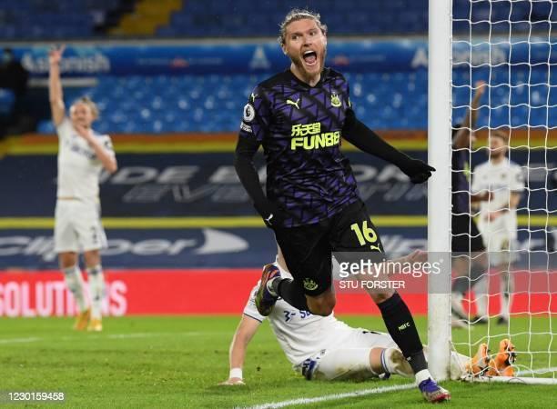 Newcastle United's Irish midfielder Jeff Hendrick celebrates after scoring the opening goal of the English Premier League football match between...