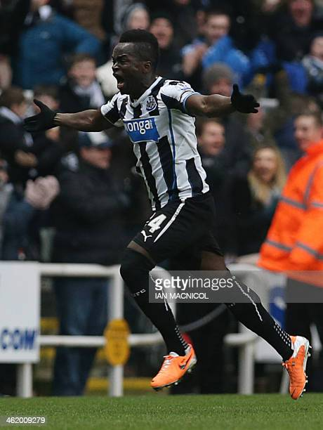Newcastle United's Ivorian midfielder Cheick Tiote celebrates scoring a goal before realizing that it had been disallowed during the English Premier...