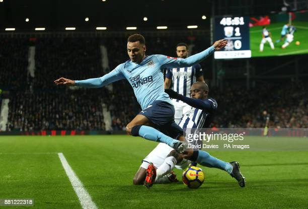 Newcastle United's Jacob Murphy and West Bromwich Albion's Allan Nyom battle for the ball during the Premier League match at The Hawthorns West...