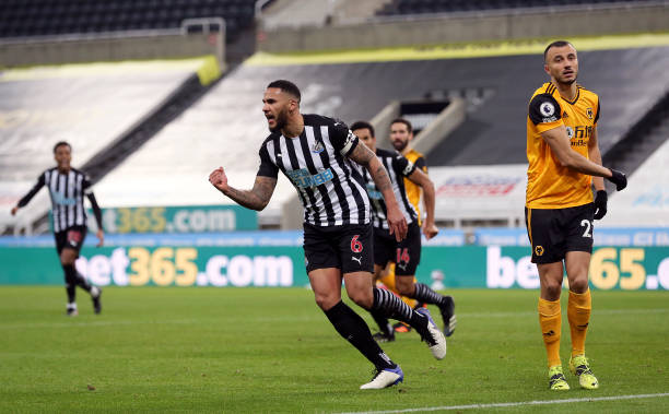 Newcastle United's Jamaal Lascelles celebrates scoring their side's first goal of the game during the Premier League match at St. James' Park,...