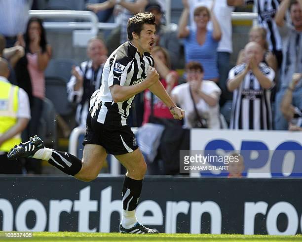 Newcastle United's Joey Barton celebrates scoring against Aston Villa's during an English FA Premier League football match at St James' Park...