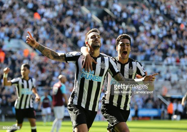 Newcastle United's Joselu celebrates scoring his side's first goal with Mikel Merino during the Premier League match between Newcastle United and...
