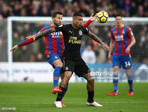Newcastle United's Kenedy and Crystal Palace's Yohan Cabaye battle for the ball during the Premier League match at Selhurst Park London