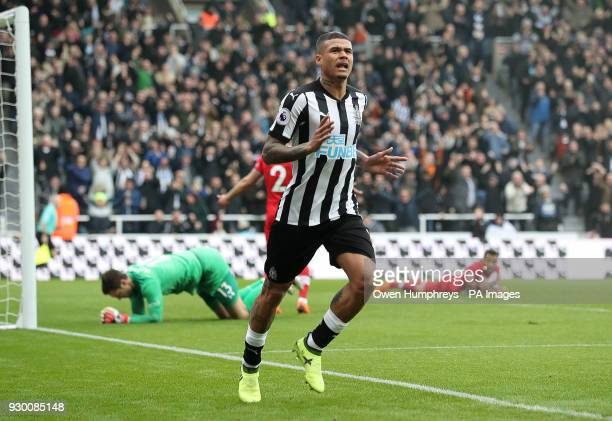 Newcastle United's Kenedy celebrates scoring his side's second goal of the game during the Premier League match at St James' Park Newcastle