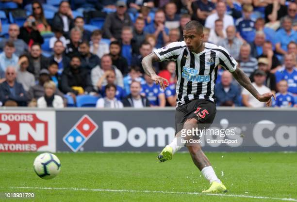 Newcastle United's Kenedy takes a free kick during the Premier League match between Cardiff City and Newcastle United at Cardiff City Stadium on...