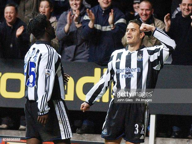 Newcastle United's Laurent Robert celebrates his second goal against Tottenham Hotspur with teammate Olivier Bernard during the Barclaycard...