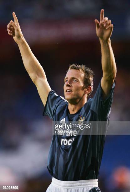 Newcastle United's Lee Bowyer celebrates after scoring a goal during an Intertoto semi-final, 1st leg match between Deportivo La Coruna and Newcastle...