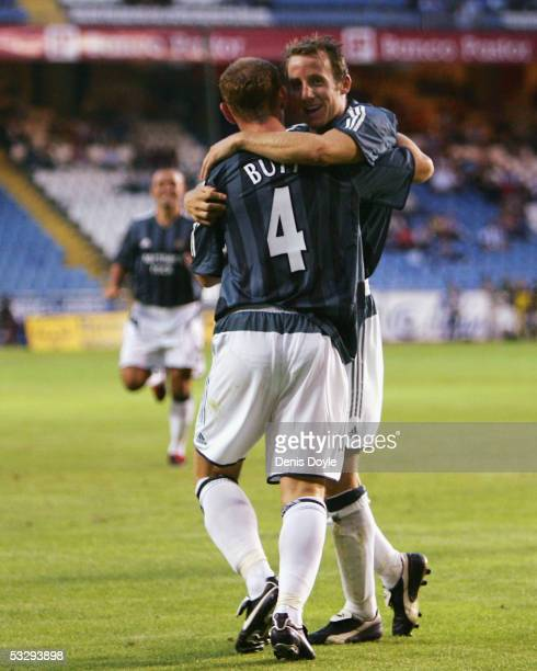 Newcastle United's Lee Bowyer celebrates with Nicky Butt after scoring a goal during an Intertoto semi-final, 1st leg match between Deportivo La...
