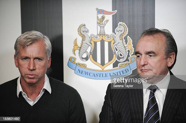 Newcastle United's Manager Alan Pardew and Managing Director Derek Llambias during a Newcastle United Press Conference as wongacom agree a four year...