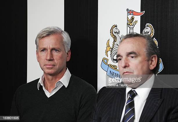Newcastle United's Manager Alan Pardew and Managing Director Derek Llambias attend a Newcastle United Press Conference as wongacom agree a four year...