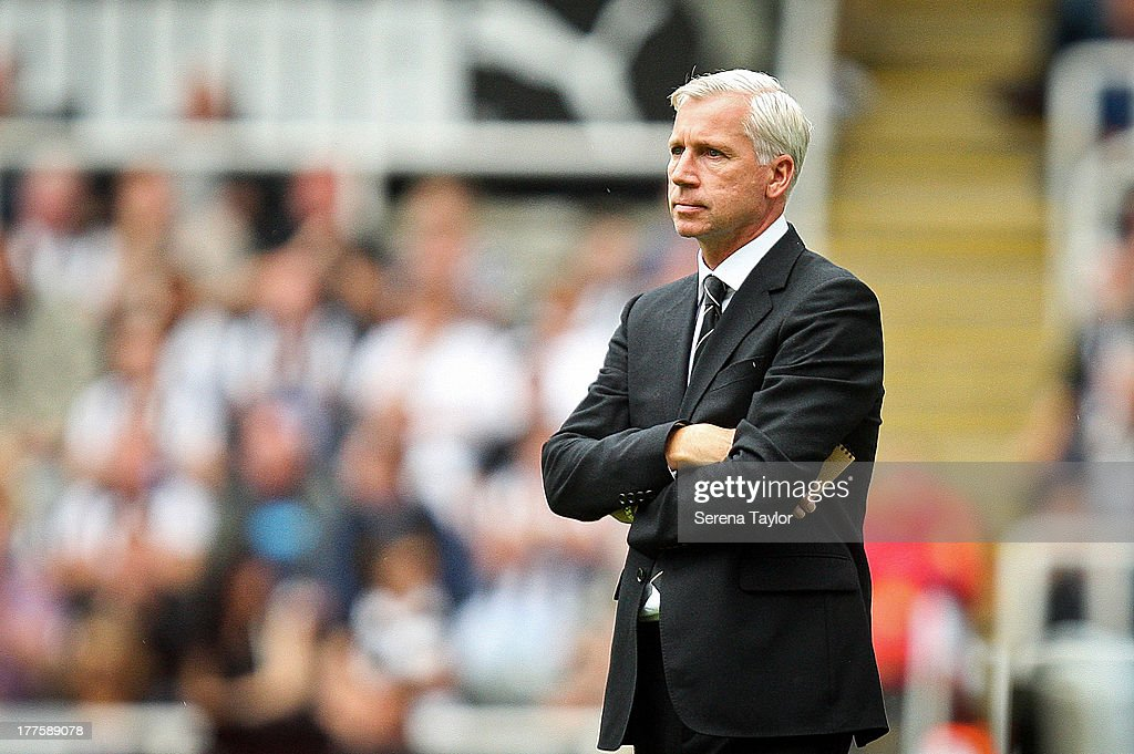 Newcastle Uniteds Manager Alan Pardew looks on during the Barclays Premiership Match between Newcastle United and West Ham United at St. James Park on August 24, 2013, in Newcastle upon Tyne, England.