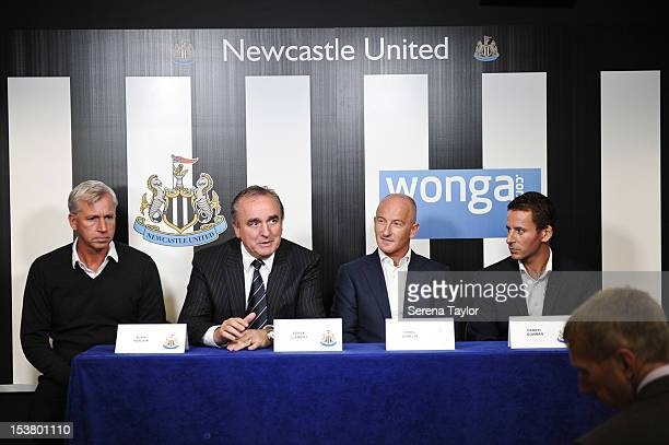 Newcastle United's Manager Alan Pardew Managing Director Derek Llambias Founder and CEO of Wongacom Errol Damelin and Chief Marketing Officer Darryl...