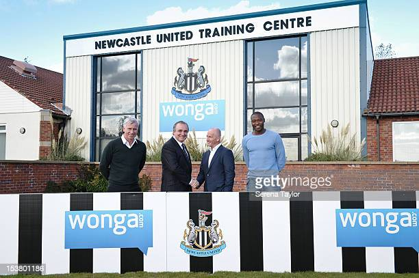 Newcastle United's Manager Alan Pardew Managing Director Derek Llambias Founder and CEO of Wongacom Errol Damelin and Newcastle United player Shola...