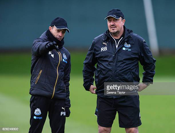 Newcastle Unitedâs Manager Rafael Benitez and Assistant Manager Francisco De Miguel Moreno during the Newcastle United Training Session at The...