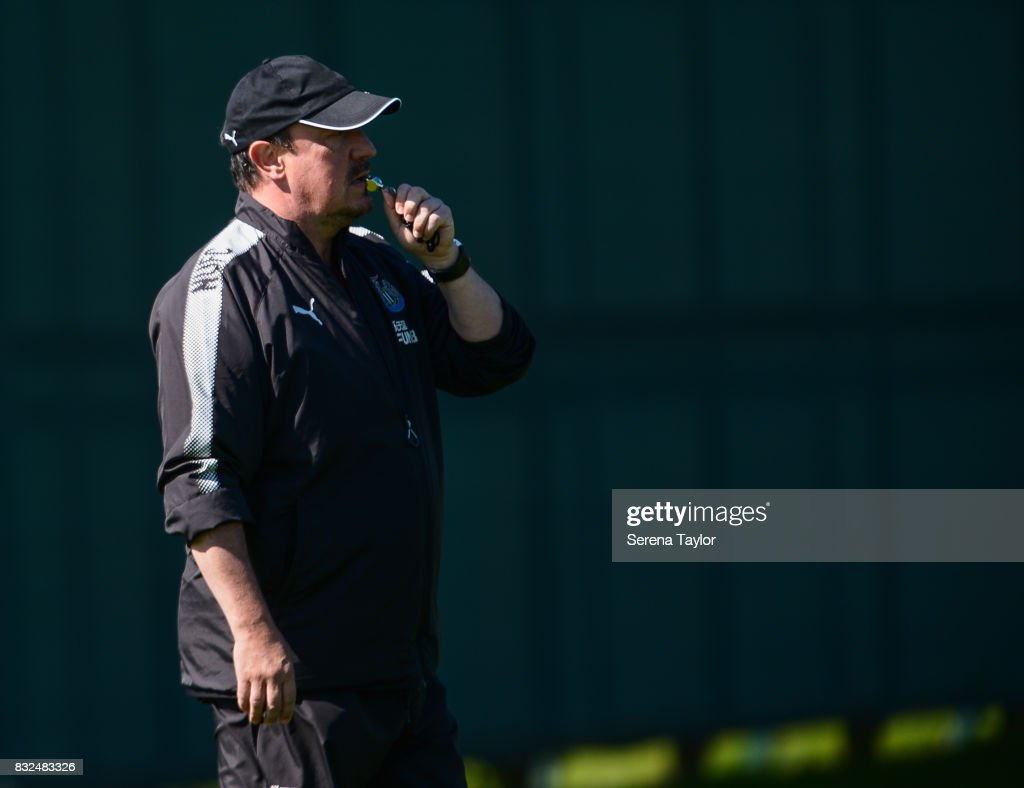 Newcastle United's Manager Rafael Benitez blows his whistle during the Newcastle United Training session at the Newcastle United Training Centre on August 16, 2017, in Newcastle upon Tyne, England.